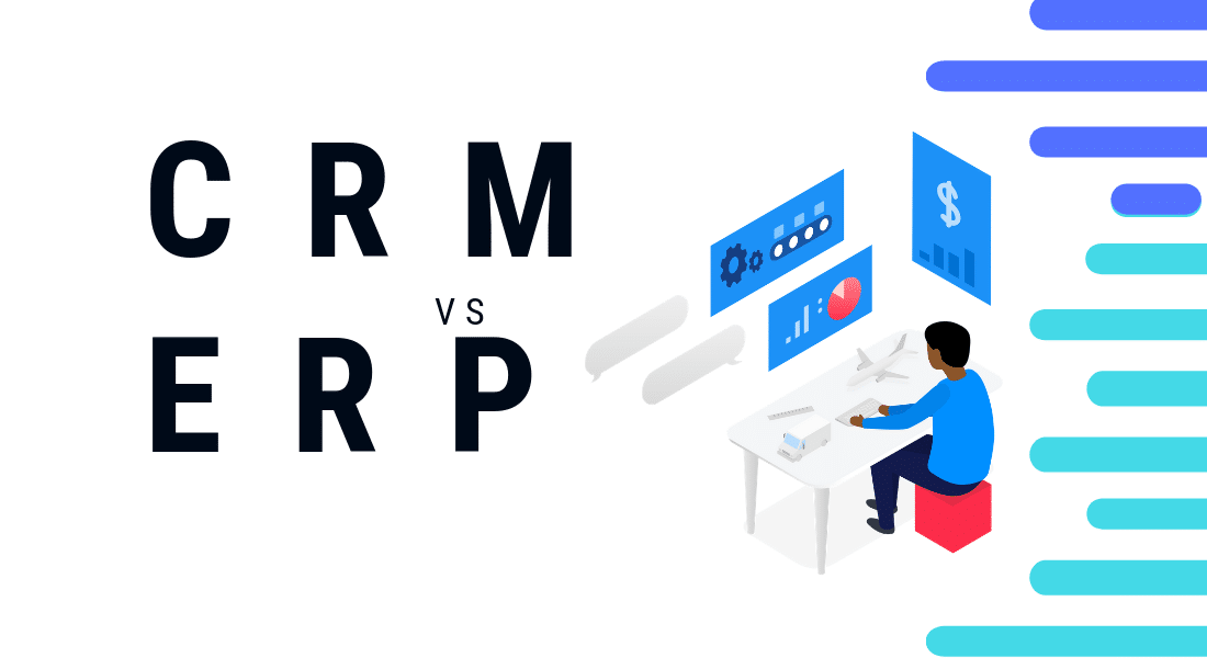 crm vs erp. design picture showing a visual representation between crm vs erp